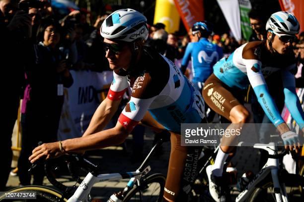 Start / Silvan Dillier of Switzerland and Team Ag2R La Mondiale / Lawrence Naesen of Belgium and Team Ag2R La Mondiale / Eddy Merckx Bike / Shadow /...