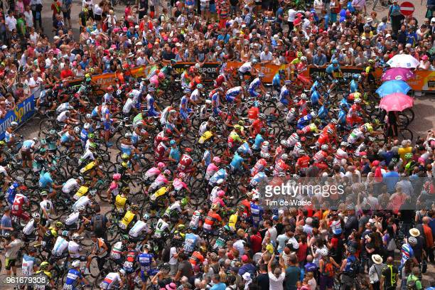 Start / Simon Yates of Great Britain and Team MitcheltonScott Pink Leader Jersey / Giulio Ciccone of Italy and Team Bardiani CSF Blue Mountain Jersey...