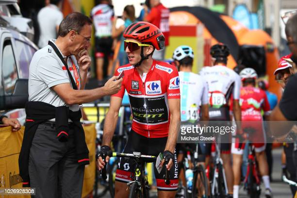 Start / Simon Yates of Great Britain and Team Mitchelton-Scott Red Leader Jersey / Interview / during the 73rd Tour of Spain 2018, Stage 11 a 207,8km...