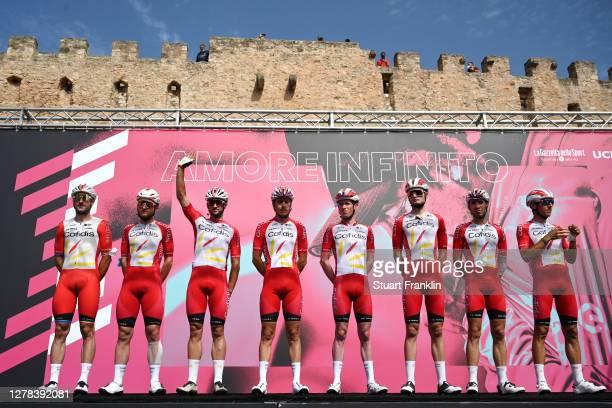 Start / Simone Consonni of Italy, Nicolas Edet of France, Nathan Haas of Australia, Jesper Hansen of Denmark, Mathias Le Turnier of France, Stephane...
