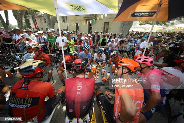 Start / Sonny Colbrelli of Italy and Team Bahrain-Merida / Gianni Moscon of Italy and Team INEOS / Lukasz Wisniowski of Poland and CCC Team / Alexey...