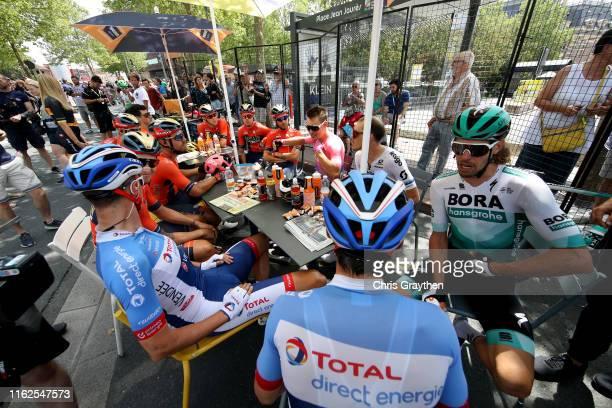 Start / Sonny Colbrelli of Italy and Team Bahrain-Merida / Greg Van Avermaet of Belgium and CCC Team / Matej Mohoric of Slovenia and Team...