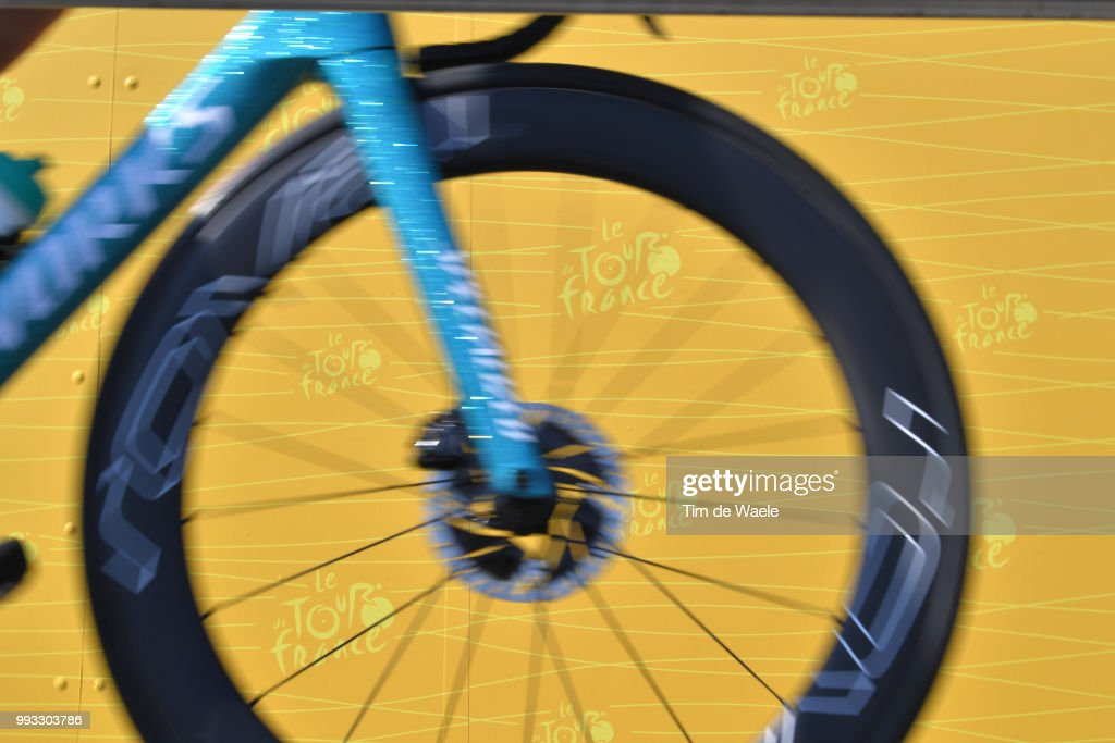 Start / Specialized Bike / Disk Brake / TDF logo / during the 105th Tour de France 2018, Stage 1 a 201km from Noirmoutier-En-L'ile to Fontenay-le-Comte on July 7, 2018 in Fontenay-le-Comte, France.