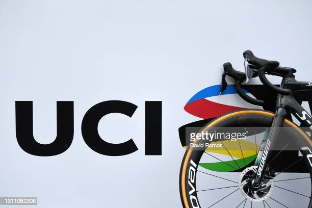 Start / Specialized bike during the 60th Itzulia-Vuelta Ciclista Pais Vasco 2021, Stage 2 a 154,8km stage from Zalla to Sestao 48m / UCI Logo /...