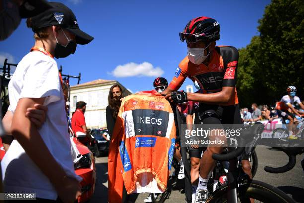 Start / Start / Tribute to Nicolas Portal of France Team Ineos former Sports Director / Magalie Portal wife and Lenny Portal son / Egan Bernal of...