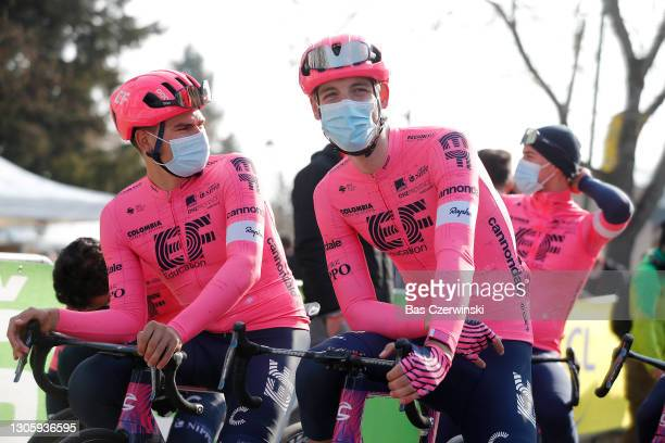 Start / Stefan Bissegger of Switzerland and Team EF Education - Nippo & Neilson Powless of United States and Team EF Education - Nippo during the...