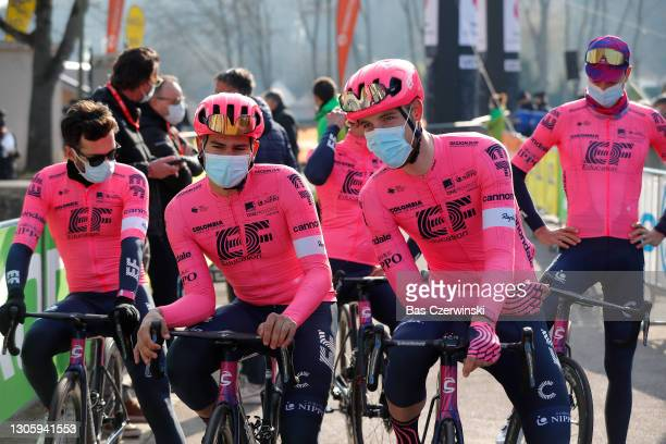 Start / Stefan Bissegger of Switzerland & Jonas Rutsch of Germany and Team EF Education - Nippo during the 79th Paris - Nice 2021, Stage 2 a 188km...