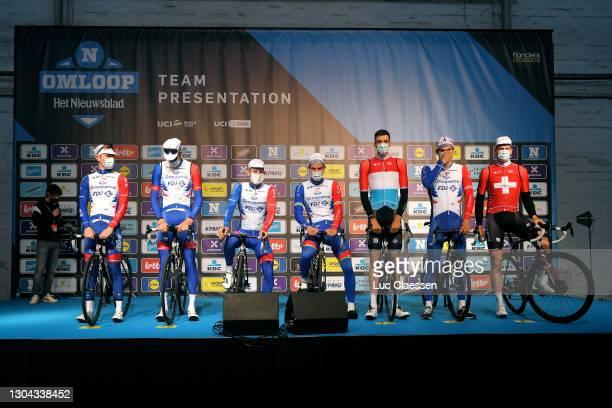 Start / Stefan Kung of Switzerland, Antoine Duchesne of Canada, Kevin Geniets of Luxembourg, Miles Scotson of Australi, Fabian Lienhard of...