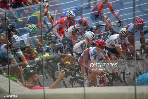 Start / Steff Cras of Belgium and Team Katusha Alpecin / Sergio L Henao Montoya of Colombia and Team Sky / Stadion Slaski Chorzow / Reflection /...