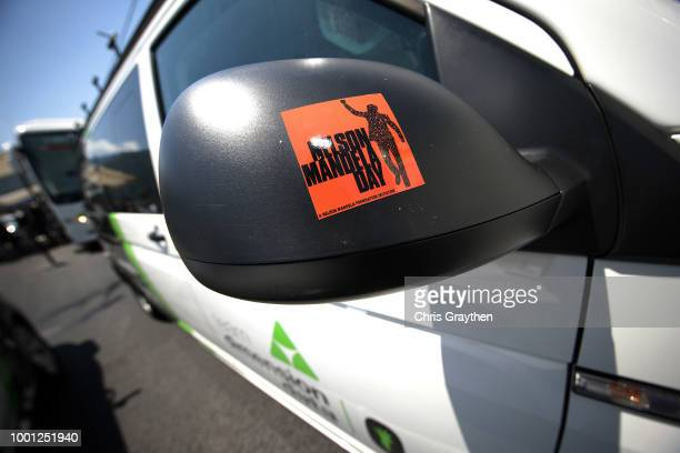 Start / Sticker in honor of Nelson Mandela in what would be his 100th birthday today / #Mandela Day / Car / Detail view / during the 105th Tour de...