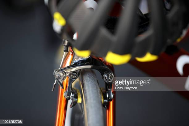 Start / Sylvain Chavanel of France and Team Direct Energie / Brake / Detail view / during the 105th Tour de France 2018 Stage 11 a 1085km stage from...