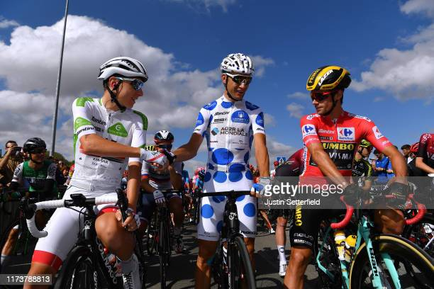 Start / Tadej Pogacar of Slovenia and UAE Team Emirates White Best Young Rider Jersey / Geoffrey Bouchard of France and Team AG2R La Mondiale Polka...