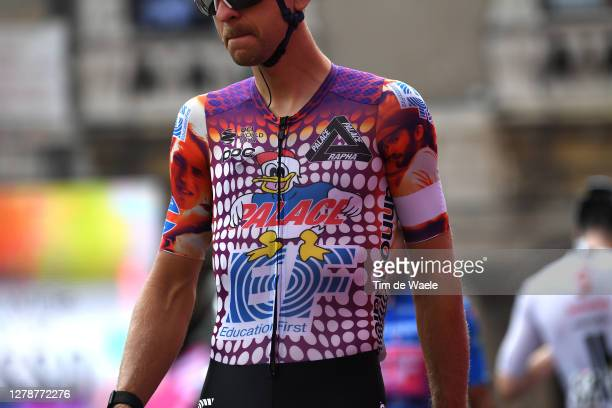 Start / Tanel Kangert of Estonia and Team EF Pro Cycling / Team EF Pro Cycling special Rapha x Palace Skateboards / Detail view / Catania City /...