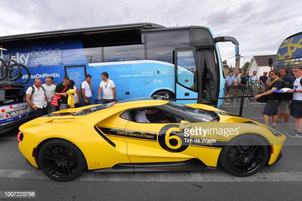 Start / Team Sky Yellow Ford GT / Car / during the 105th Tour de France 2018 Stage 21 a 116km stage from Houilles to Paris ChampsElysees / TDF / on...