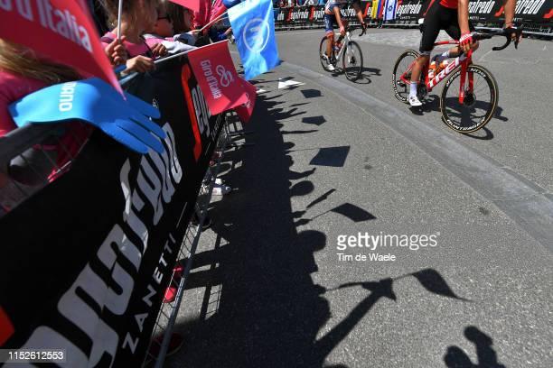 Start / Team Trek - Segafredo / Valdaora Village / Fans / Public / Shadow / Detail view / Bike / during the 102nd Giro d'Italia 2019, Stage 18 a...