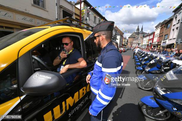 Start / Teams Cars Police alcohol check-control / Team Jumbo-Visma / Binche City / during the 106th Tour de France 2019, Stage 3 a 215km stage from...