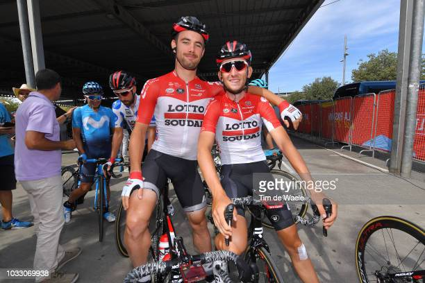 Start / Thomas De Gendt of Belgium and Team Lotto Soudal Polka Dot Mountain jersey / Victor Campenaerts of Belgium and Team Lotto Soudal / Tiesj...