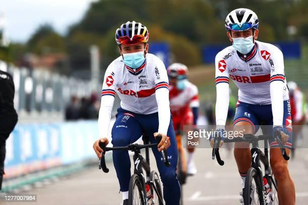 Start / Thomas Pidcock of The United Kingdom / James Knox of The United Kingdom / during the 93rd UCI Road World Championships 2020, Men Elite Road...