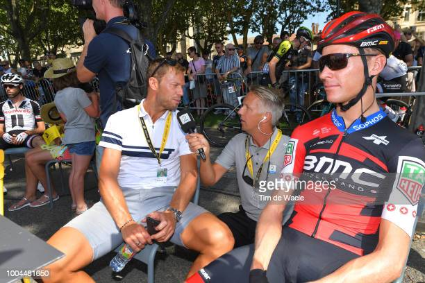 Start / Thor Hushovd of Norway ExProcyclist TV commentator / Interview / Michael Schar of Switzerland and BMC Racing Team / during the 105th Tour de...