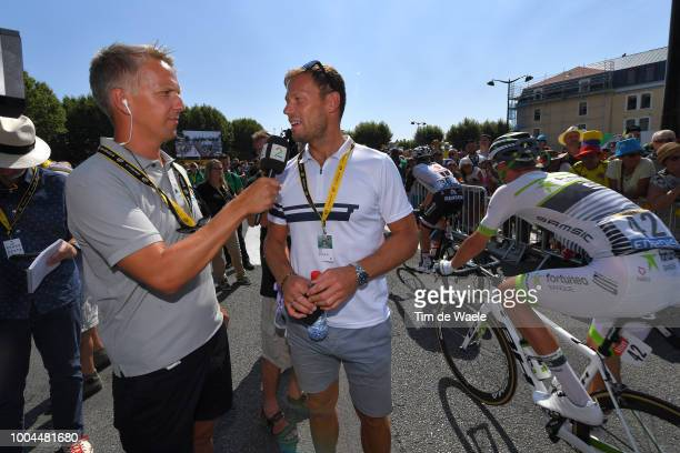 Start / Thor Hushovd of Norway ExProcyclist TV commentator / Interview / during the 105th Tour de France 2018 Stage 16 a 218km stage from Carcassonne...