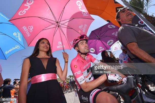 Start / Tom Dumoulin of The Netherlands and Team Sunweb Pink Leader Jersey / Hostess / Miss / during the 101th Tour of Italy 2018, Stage 2 a 167km...