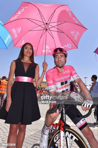 Start / Tom Dumoulin of The Netherlands and Team Sunweb Pink Leader Jersey / Hostess / Miss / during the 101th Tour of Italy 2018 Stage 2 a 167km...