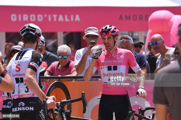 Start / Tom Dumoulin of The Netherlands and Team Sunweb Pink Leader Jersey / during the 101th Tour of Italy 2018 Stage 2 a 167km stage from Haifa to...