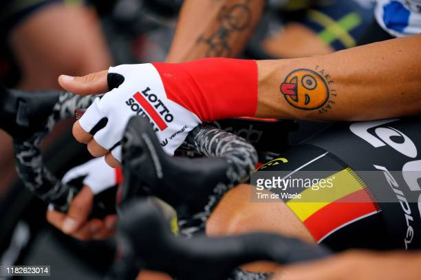 Start / Tomasz Marczynski of Poland and Team Lotto Soudal Polka Dot Mountain Jersey / Tattoo / Detail view / during the 3rd Tour of Guangxi 2019,...