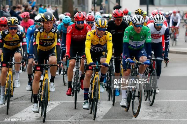 Start / Tony Martin of Germany and Team Jumbo - Visma, Primoz Roglic of Slovenia and Team Jumbo - Visma Yellow Leader Jersey, Clement Russo of France...