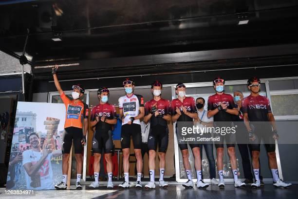 Start / Tribute to Nicolas Portal of France Team Ineos former Sports Director / Egan Bernal of Colombia, Jonathan Castroviejo of Spain, Pavel Sivakov...