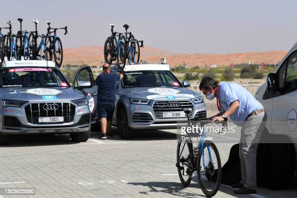 Start / UCI commissioner makes a check on Movistar Team bikes during the 3rd UAE Tour 2021, Stage 3 a 166km stage from Al Ain - Strata Manufacturing...