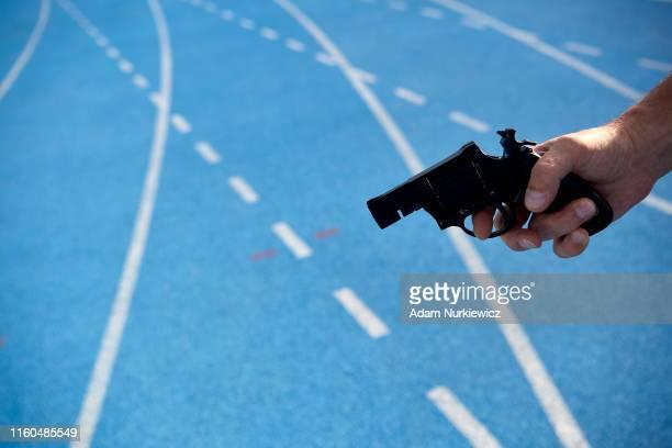 Start umpire checks his start gun while European Athletics Team Championships Super League Bydgoszcz 2019 - Day One at Zawisza Stadium on August 9,...
