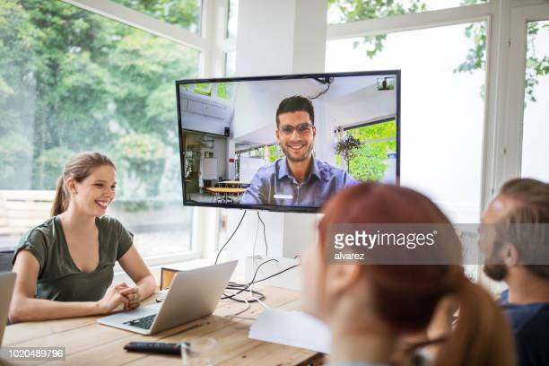 start up business group having a video conference - webinar stock photos and pictures
