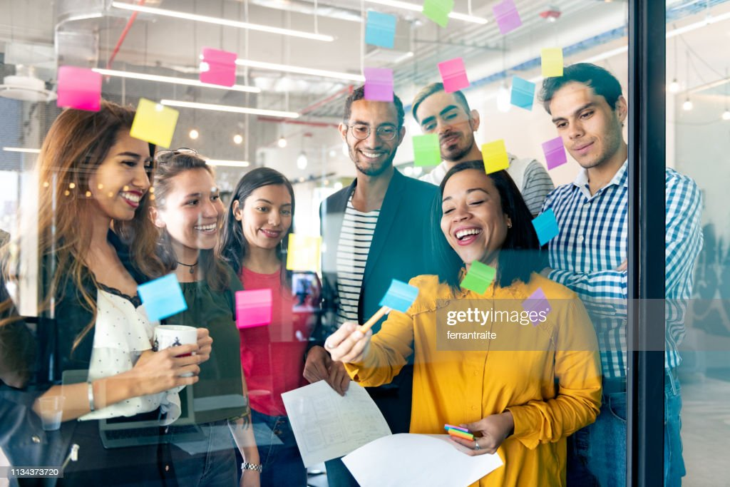 Start up meeting in Co-working office : Stock Photo