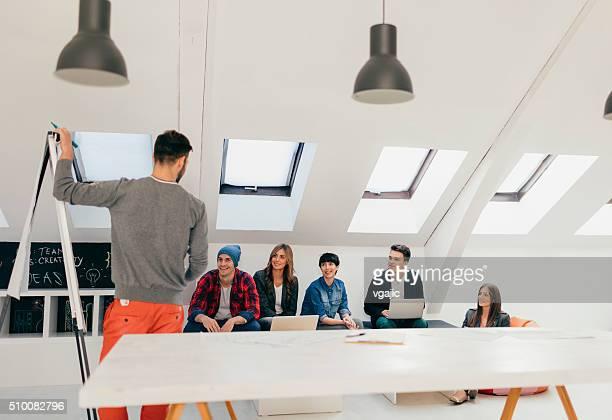 Start Up Team At Work Brainstorming.