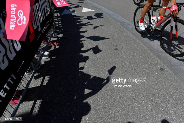 Start / Valdaora Village / Fans / Public / Shadow / Detail view / Bike / during the 102nd Giro d'Italia 2019, Stage 18 a 222km stage from Valdaora to...