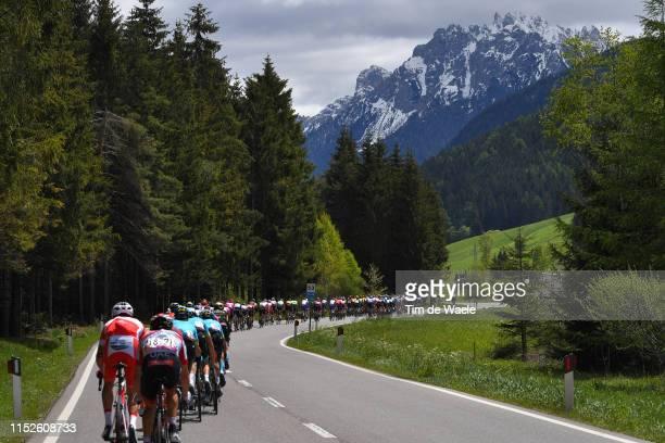 Start / Valdaora Village / Peloton / Landscape / Mountains / Snow / during the 102nd Giro d'Italia 2019, Stage 18 a 222km stage from Valdaora to...