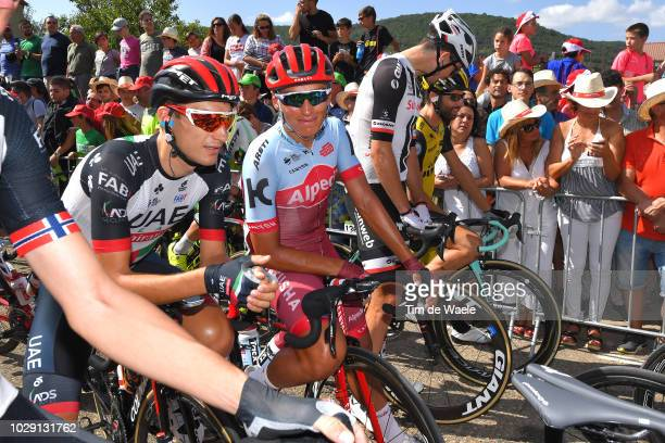 Start / Valerio Conti of Italy and UAE Team Emirates / Jhonatan Restrepo of Colombia and Team Katusha Alpecin / during the 73rd Tour of Spain 2018,...