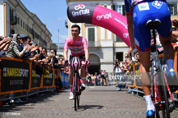 Start / Valerio Conti of Italy and UAE Team Emirates Pink Leader Jersey / Cuneo City / Fans / Public / during the 102nd Giro d'Italia 2019 Stage 12 a...