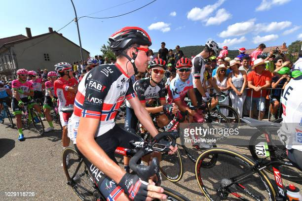 Start / Vegard Stake Laengen of Norway and UAE Team Emirates / Valerio Conti of Italy and UAE Team Emirates / Jhonatan Restrepo of Colombia and Team...
