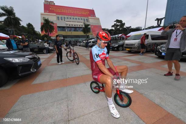 Start / Vyacheslav Kuznetsov of Rusia and Team KatushaAlpecin / Bike / Philippe Maertens of Belgium Head Press Officer of Team Katusha Alpecin /...