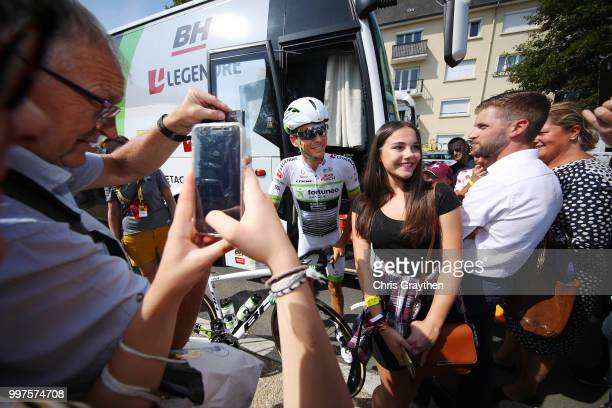 Start / Warren Barguil of France and Team Fortuneo Samsic / Fans / Public / during the 105th Tour de France 2018 Stage 7 a 231km stage from Fougeres...