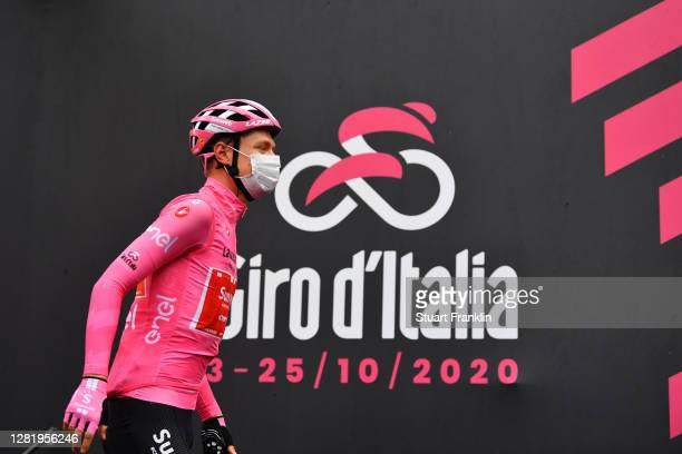 Start / Wilco Kelderman of The Netherlands and Team Sunweb Pink Leader Jersey / Alba Village / during the 103rd Giro d'Italia 2020, Stage 20 a 190km...