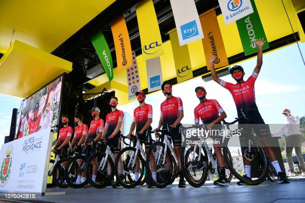 Start / Winner Andrew Anacona of Colombia, Warren Barguil of France, Kevin Ledanois of France, Dayer Uberney Quintana Rojas of Colombia, Nairo...
