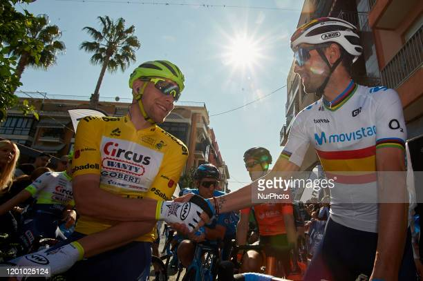 Start Xandro Meurisse of Belgium and Team Circus - Wanty Gobert Yellow Leader and Alejandro Valverde of Spain and Movistar Team Jersey during the...