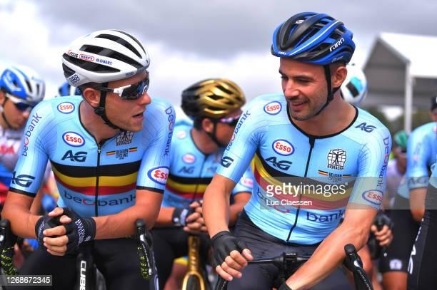 Start / Xandro Meurisse of Belgium / Victor Campenaerts of Belgium / during the 26th UEC Road European Championships 2020, Men's Elite a 177,45km...