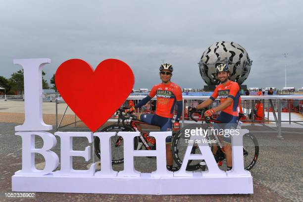 Start / Yukiya Arashiro of Japan and Team BahrainMerida / Manuele Boaro of Italy and Team BahrainMerida / Beihai Logo / during the 2nd Tour of...