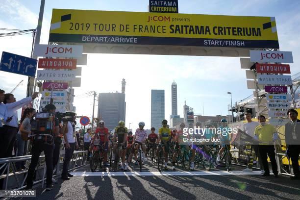 Start / Yukiya Arashiro of Japan and Team Bahrain-Merida Tour of France Japan Rider / Matteo Trentin of Italy and Team Mitchelton-Scott / Romain...