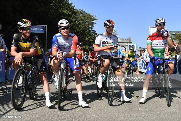 Start / Yves Lampaert of Belgium and Team Quick-Step Floors / Arnaud Demare of France and Team Groupama FDJ / Pascal Ackermann of Germany and Team...