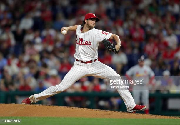 Starter Aaron Nola of the Philadelphia Phillies throws a pitch in the second inning during a game against the St. Louis Cardinals at Citizens Bank...